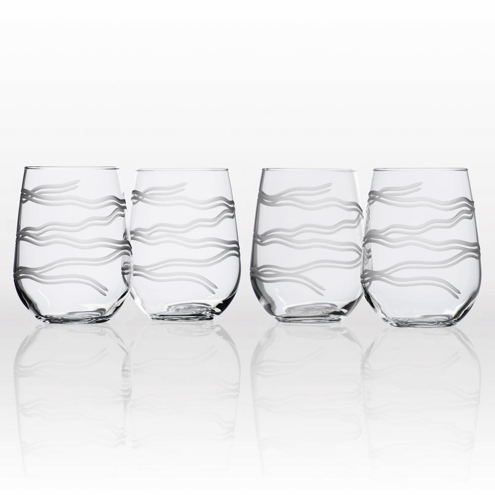 2aca339d740 Rolf Glass Good Vibrations 17 oz. Clear Stemless Wine Tumbler (Set of 4)