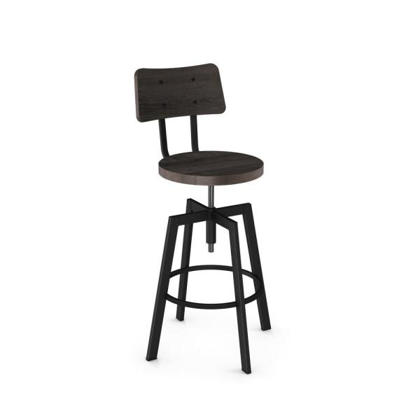 Amisco Woodland Textured Black Metal Medium Dark Grey Wood Adjustable Stool