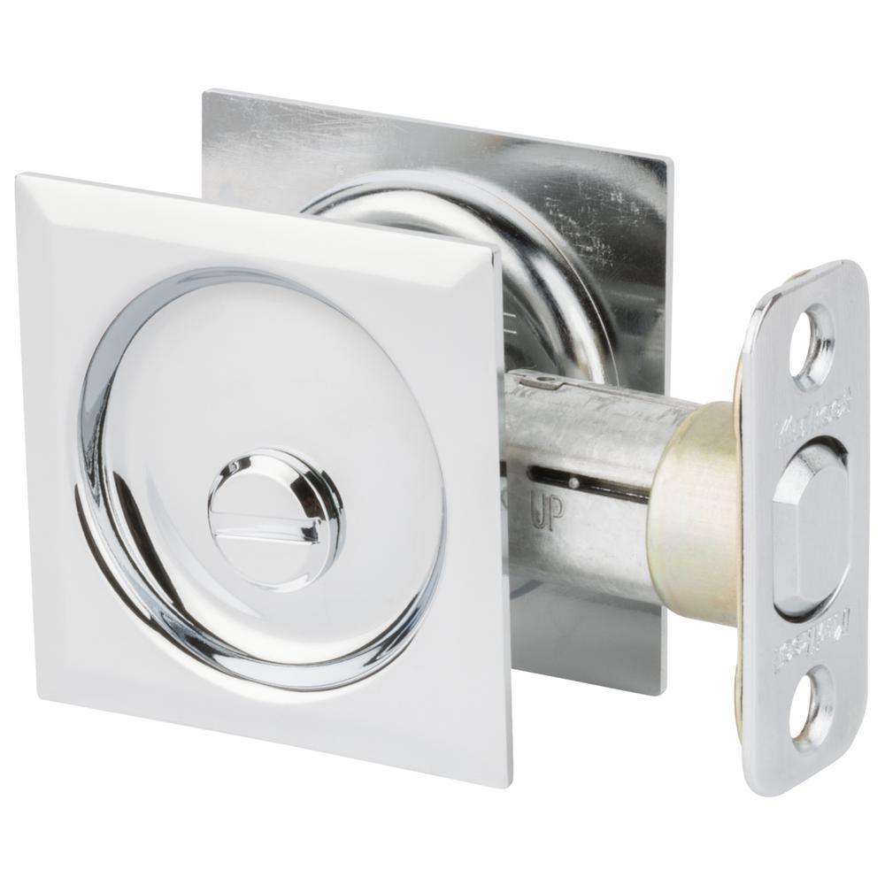 Polished Chrome Square Bed/Bath Pocket Door Lock