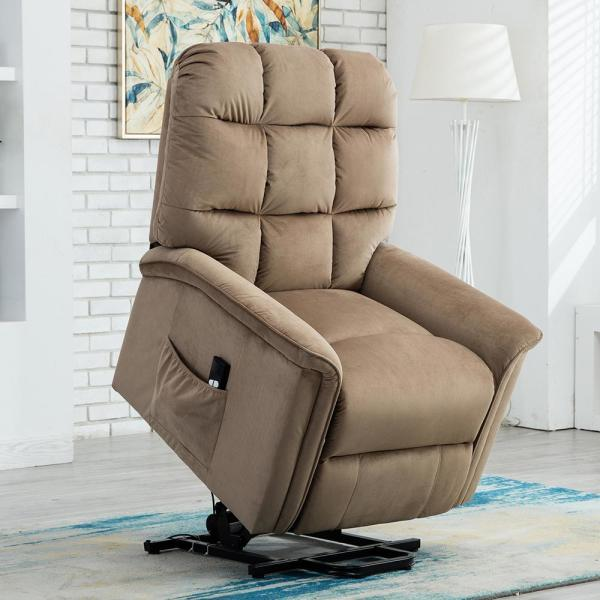 Mocha Powel Lift Recliner Chair with Remote Control for Elderly,Heavy Duty and Soft Fabric Sofa for Living Room