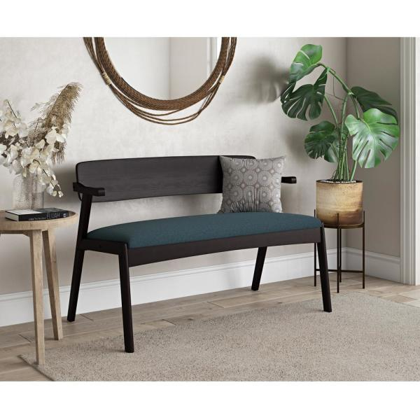 Handy Living Richman 30 In H Brown Mid Century Modern Wood Dining Bench With Back Arms And Upholstered Seat In Blue Fabric A158428 The Home Depot