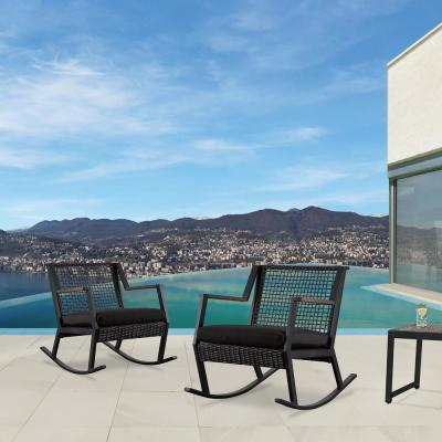 Calvin Black Powder Coated Aluminum Outdoor Rocking Chair with Black Cushions (2-Pack)