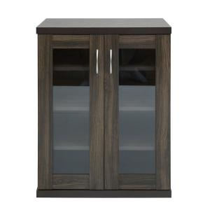 FurnitureR Oakes Brown Storage 2-Doors Cabinet