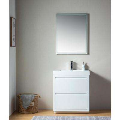 Annecy 30 in. W x 18.5 in. D x 32 in. H Bathroom Vanity in White with Single Basin Vanity Top in White Resin
