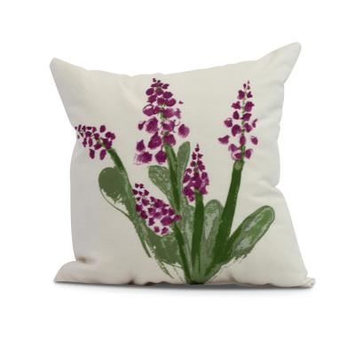 Bluebell Purple Decorative Floral Throw Pillow