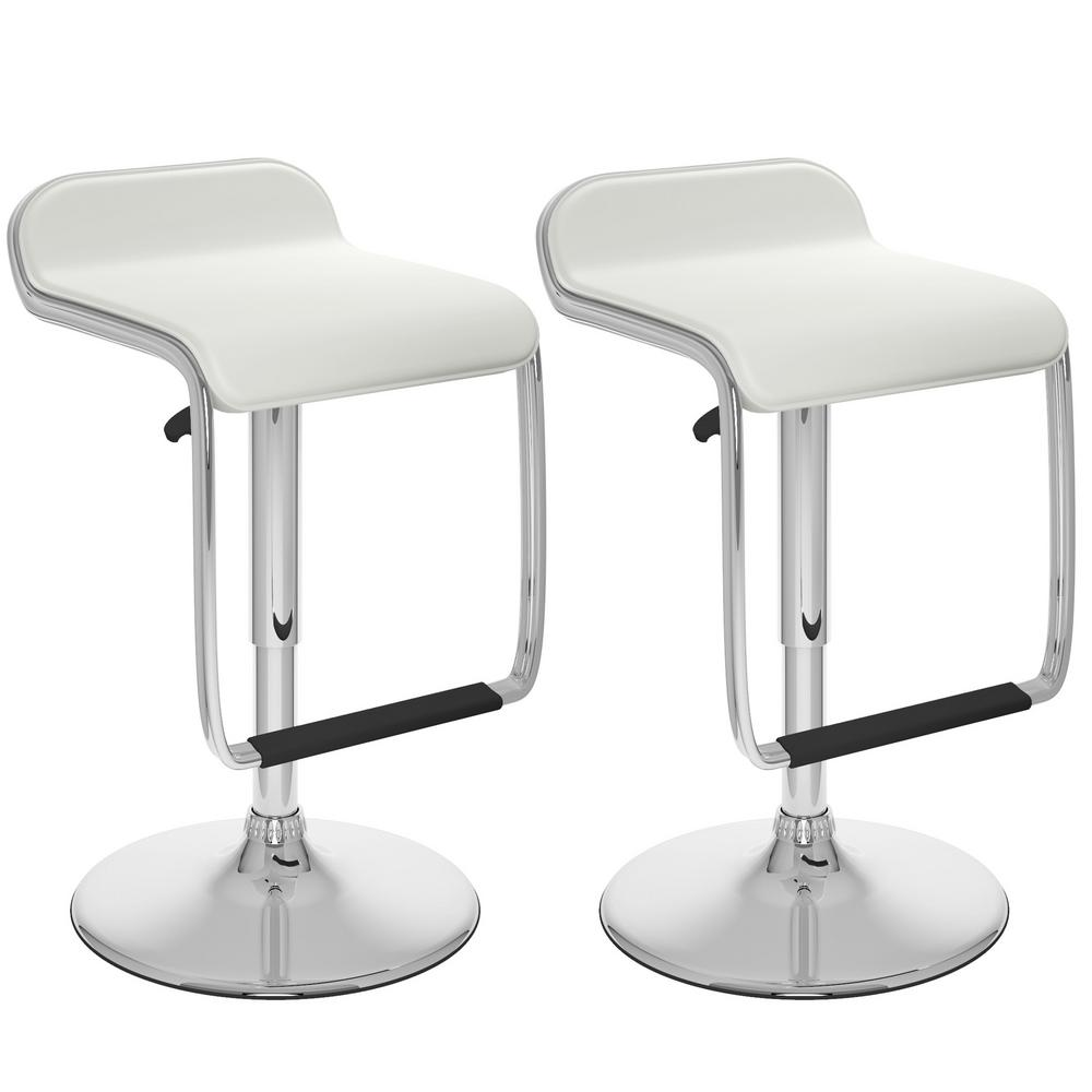Corliving Adjustable Height White Leatherette Swivel Bar Stool With Footrest Set Of 2 Dpv 216