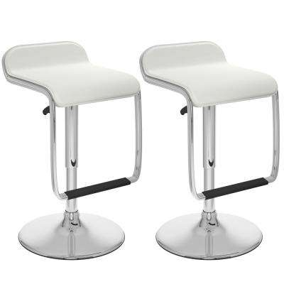 Adjustable Height White Leatherette Swivel Bar Stool with Footrest (Set of 2)
