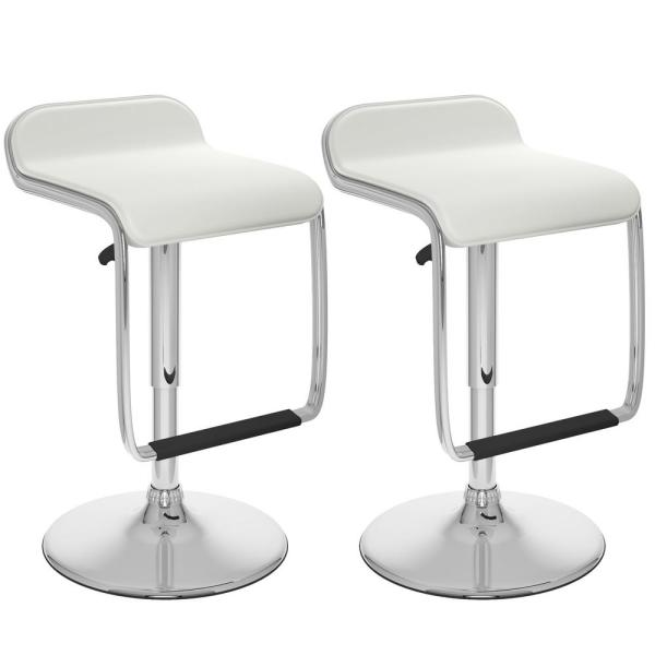 CorLiving Adjustable Height White Leatherette Swivel Bar Stool with Footrest