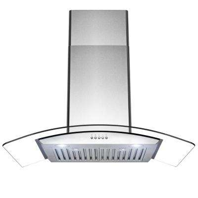 36 in. 400 CFM Convertible Wall Mount Range Hood with LED Lights in Brushed Stainless Steel