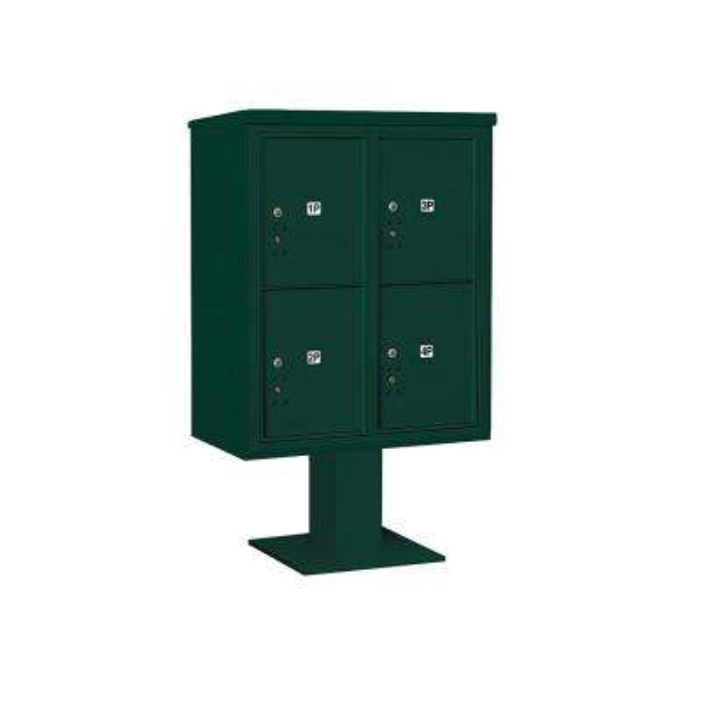 3400 Horizontal Series 4-Parcel Locker Pedestal Mount Mailbox