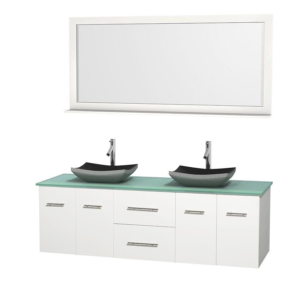 Wyndham Collection Centra In Double Vanity In White With Glass - Glass top bathroom vanity units
