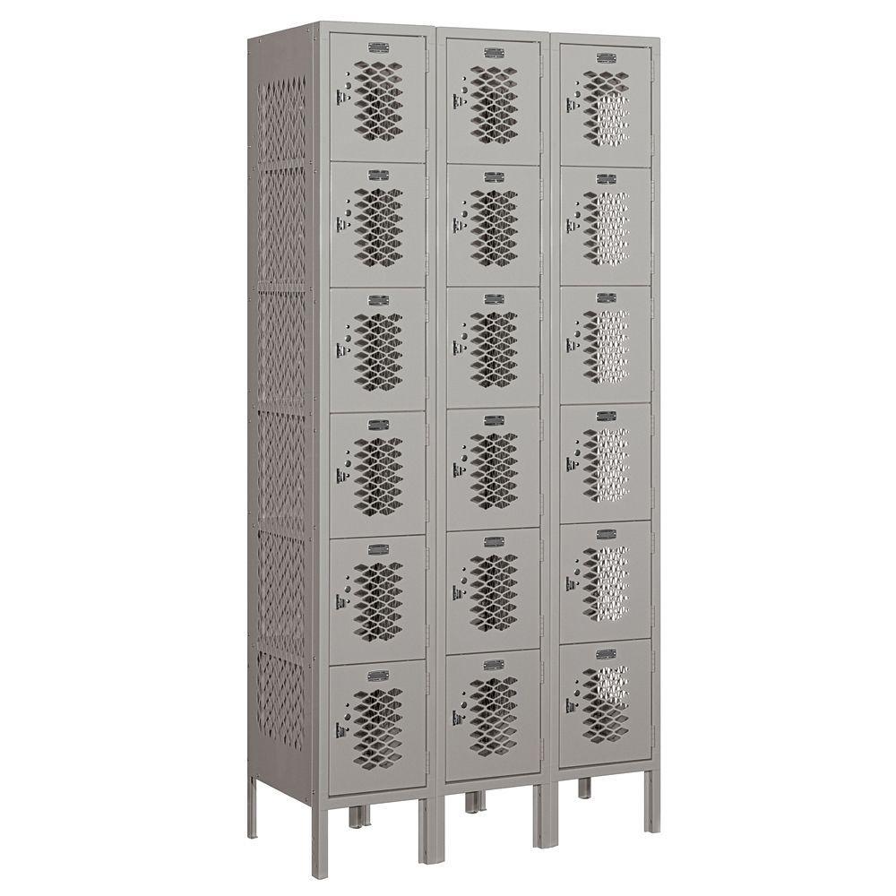 76000 Series 36 in. W x 78 in. H x 15 in. D Six Tier Box Style Vented Metal Locker Assembled in Gray