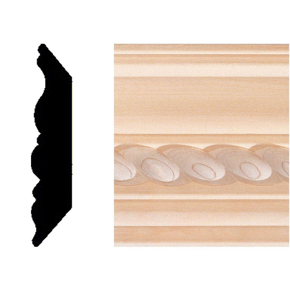 House of Fara 3/4 in. x 3-3/4 in. x 8 ft. Hardwood Rope Crown Moulding