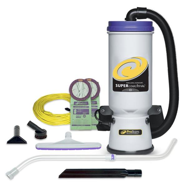 Super CoachVac 10 Qt. Commercial Backpack Vacuum Cleaner with Xover Multi-Surface Telescoping Wand Tool Kit