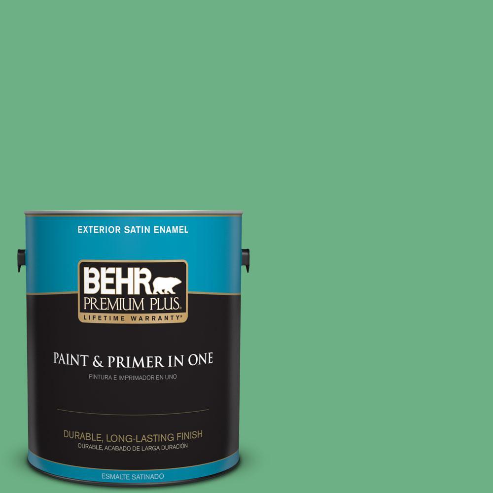 BEHR Premium Plus 1-gal. #P410-5 Lily Pads Satin Enamel Exterior Paint