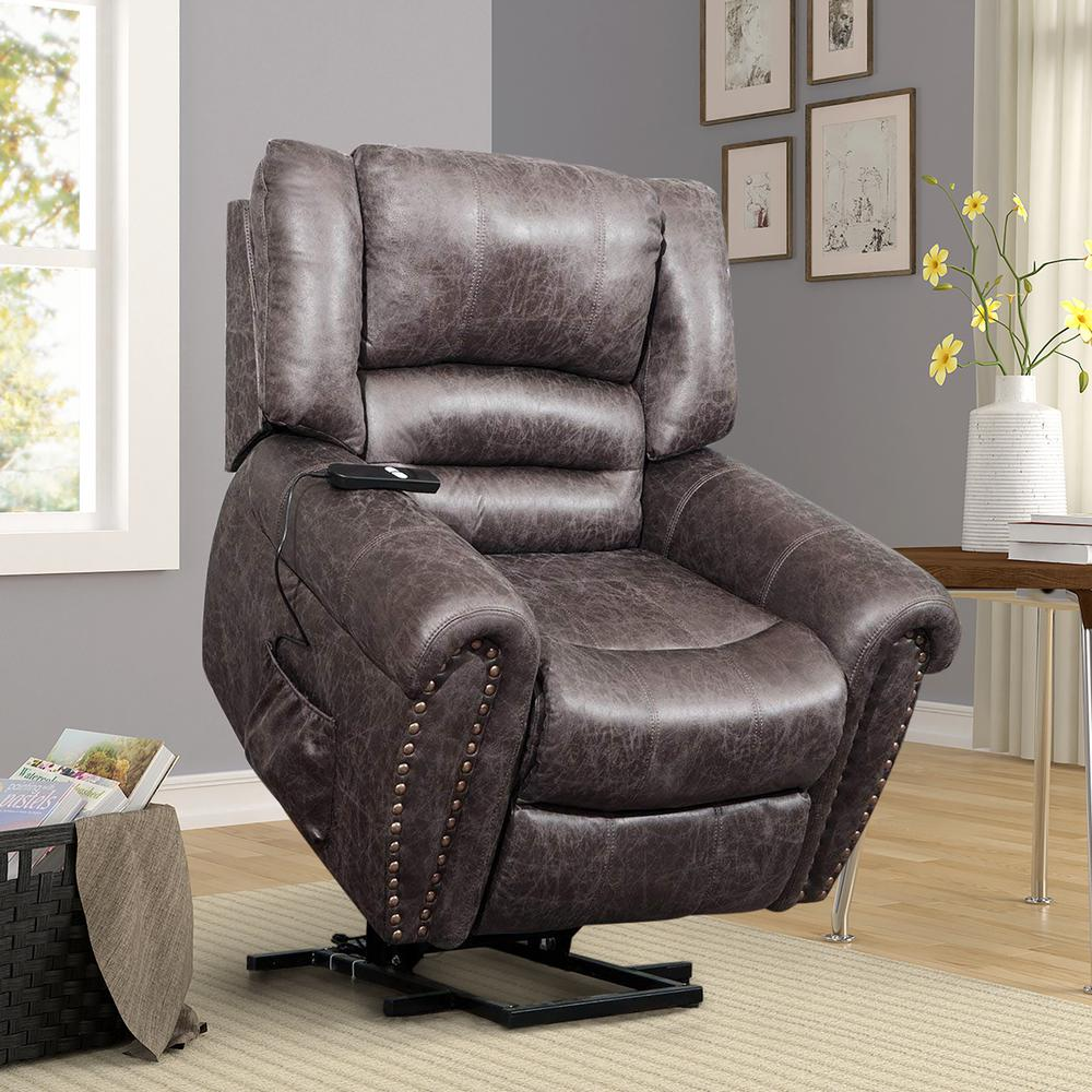 Harper Amp Bright Designs Brown Faux Leather Recliner Power