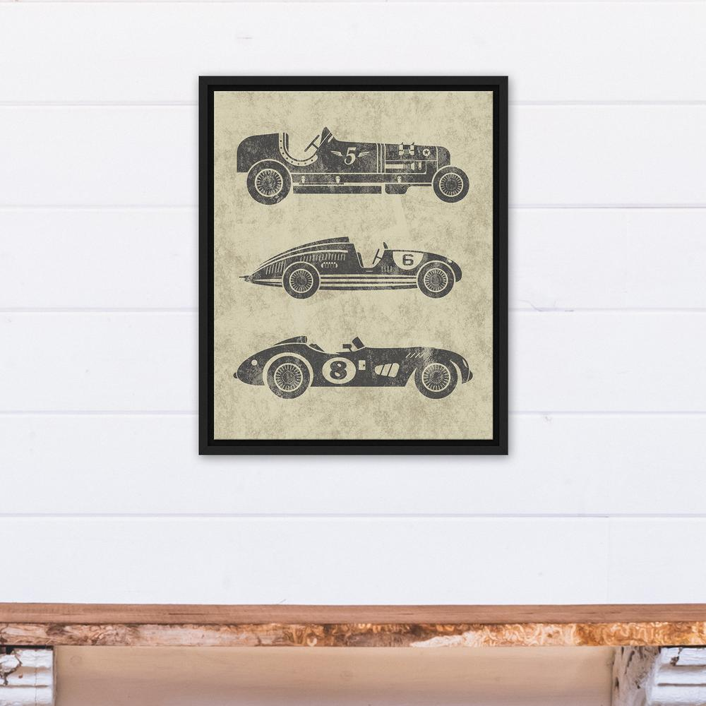 16 in. x 20 in. ''Vintage Race Cars'' Printed Framed Canvas