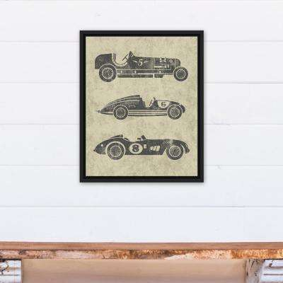 16 in. x 20 in. ''Vintage Race Cars'' Printed Framed Canvas Wall Art
