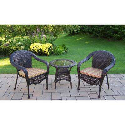 Great Elite 3 Piece Wicker Patio Seating Set With Green Stripe Cushions