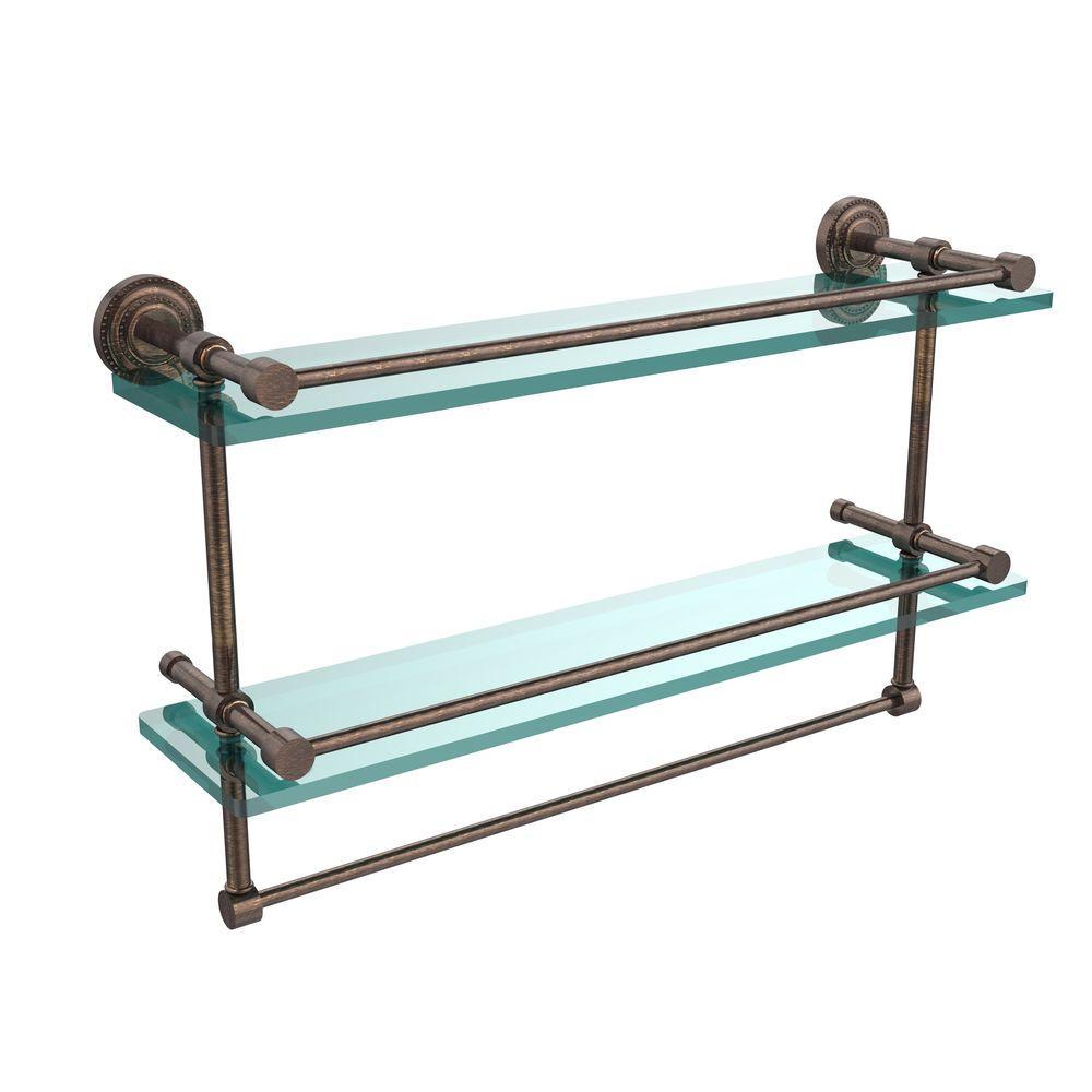 Dottingham 22 in. L  x 12 in. H  x 5 in. W 2-Tier Gallery Clear Glass Bathroom Shelf with Towel Bar in Venetian Bronze
