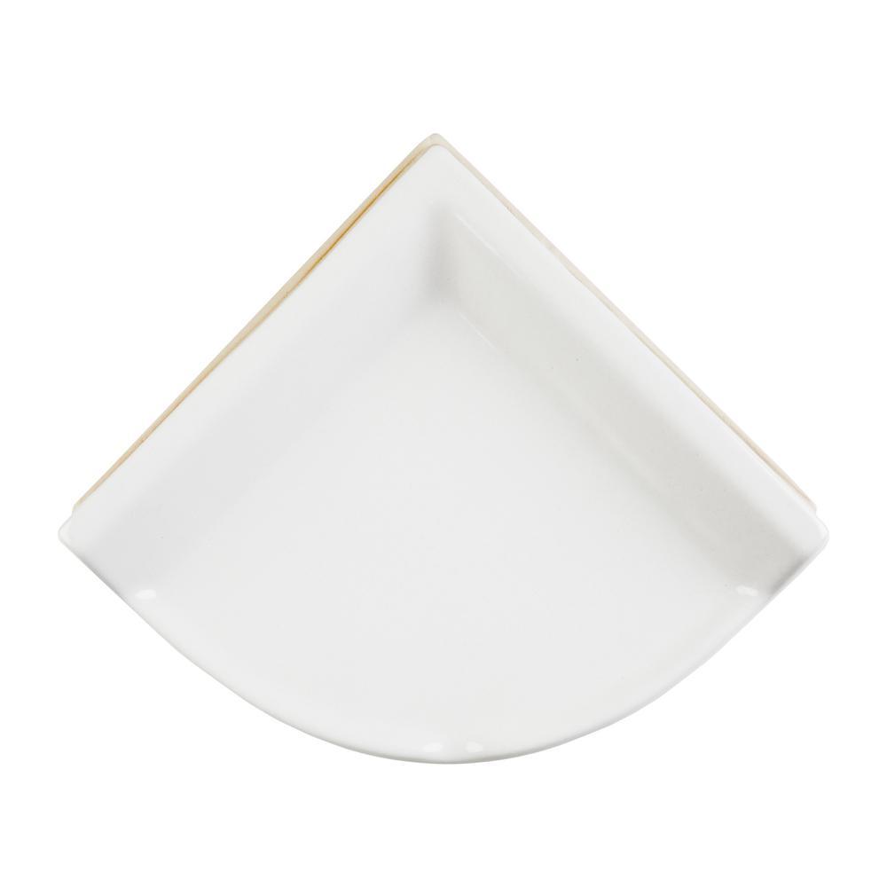 Bath Accessories White 8 in. x 8 in. Ceramic Wall Mounted Corner Shelf