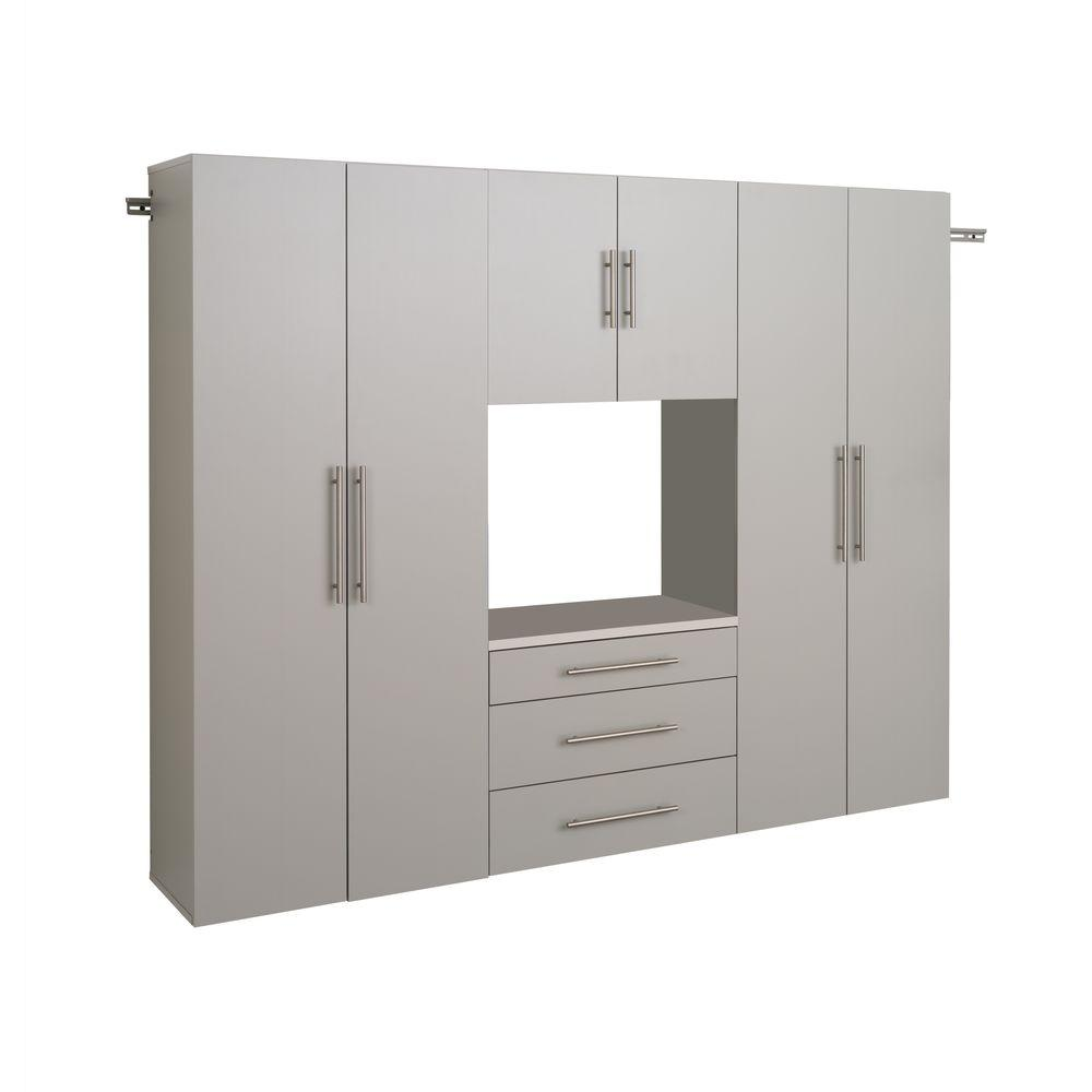 Prepac HangUps Collection Wall Mount Laminated Storage Cabinet Set G in Light Gray