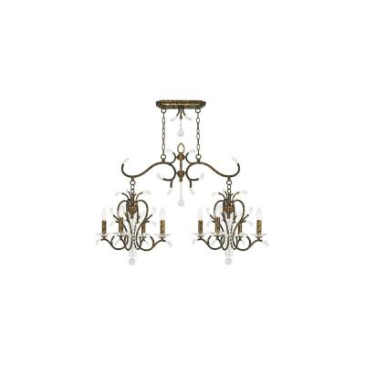 Serafina 8-Light Hand Applied Venetian Golden Bronze Linear Chandelier with Clear Crystals Shade