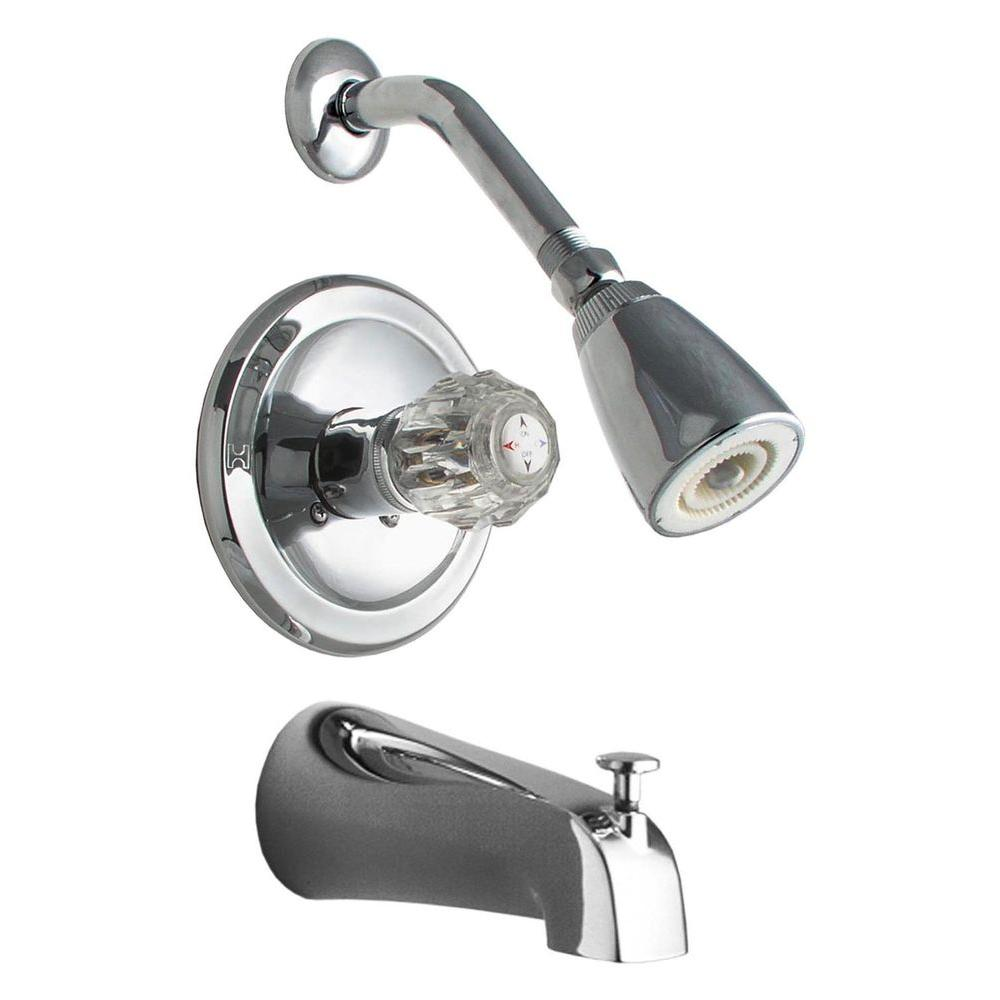 1-Handle Tub and 1-Spray Shower Faucet in Chrome (Valve Included)