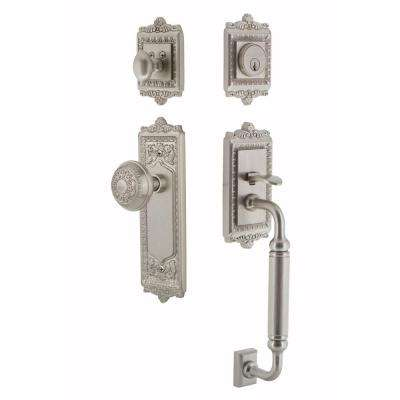 Egg and Dart Plate 2-3/4 in. Backset Satin Nickel C Grip Keyed Entry Door Handleset with Egg and Dart Knob