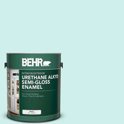 1 gal. #490A-1 Teal Ice Urethane Alkyd Semi-Gloss Enamel Interior/Exterior Paint