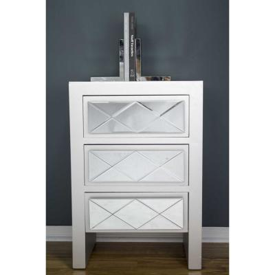 Shelly Assembled 19.6 in. x 19.6 in. x 13.8 in. Silver Wood Accent Storage Cabinet with Mirrored Glass and 3 Drawers