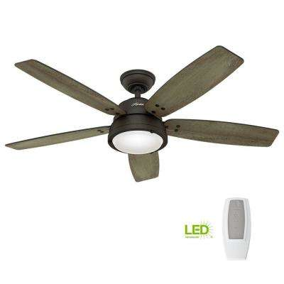 Channelside 52 in. LED Indoor/Outdoor Noble Bronze Ceiling Fan with Remote Control