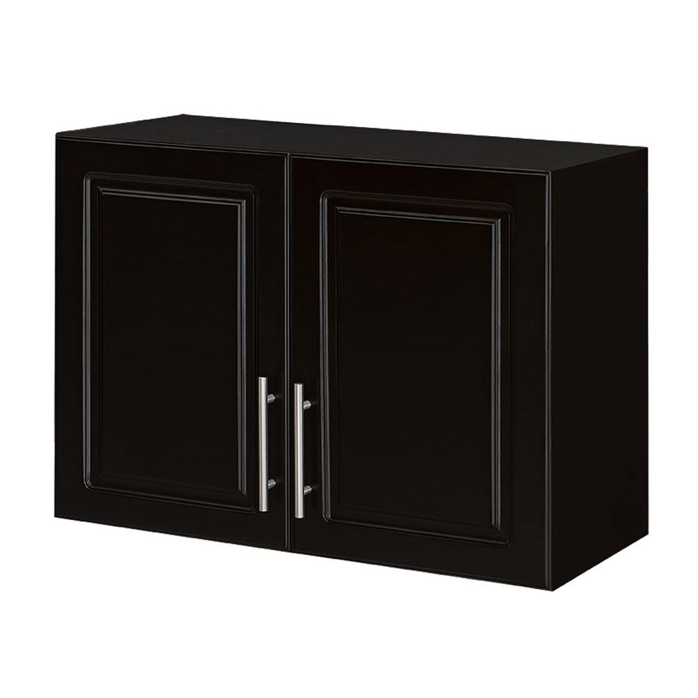 Hampton Bay Select 16 in. D x 32 in. W x 24 in. H 2-Door MDF Wall Cabinet Wood Closet System in Espresso