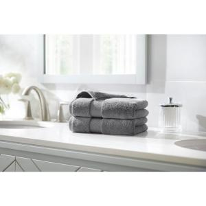 Plush Soft Cotton Hand Towel in Stone Gray (Set of 2)