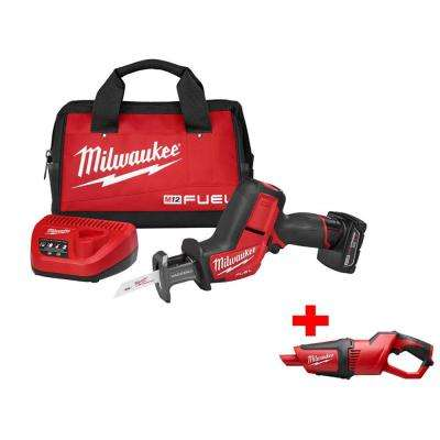 M12 FUEL 12-Volt Lithium-Ion Brushless HACKZALL Reciprocating Saw Kit with Free M12 Cordless Compact Vacuum
