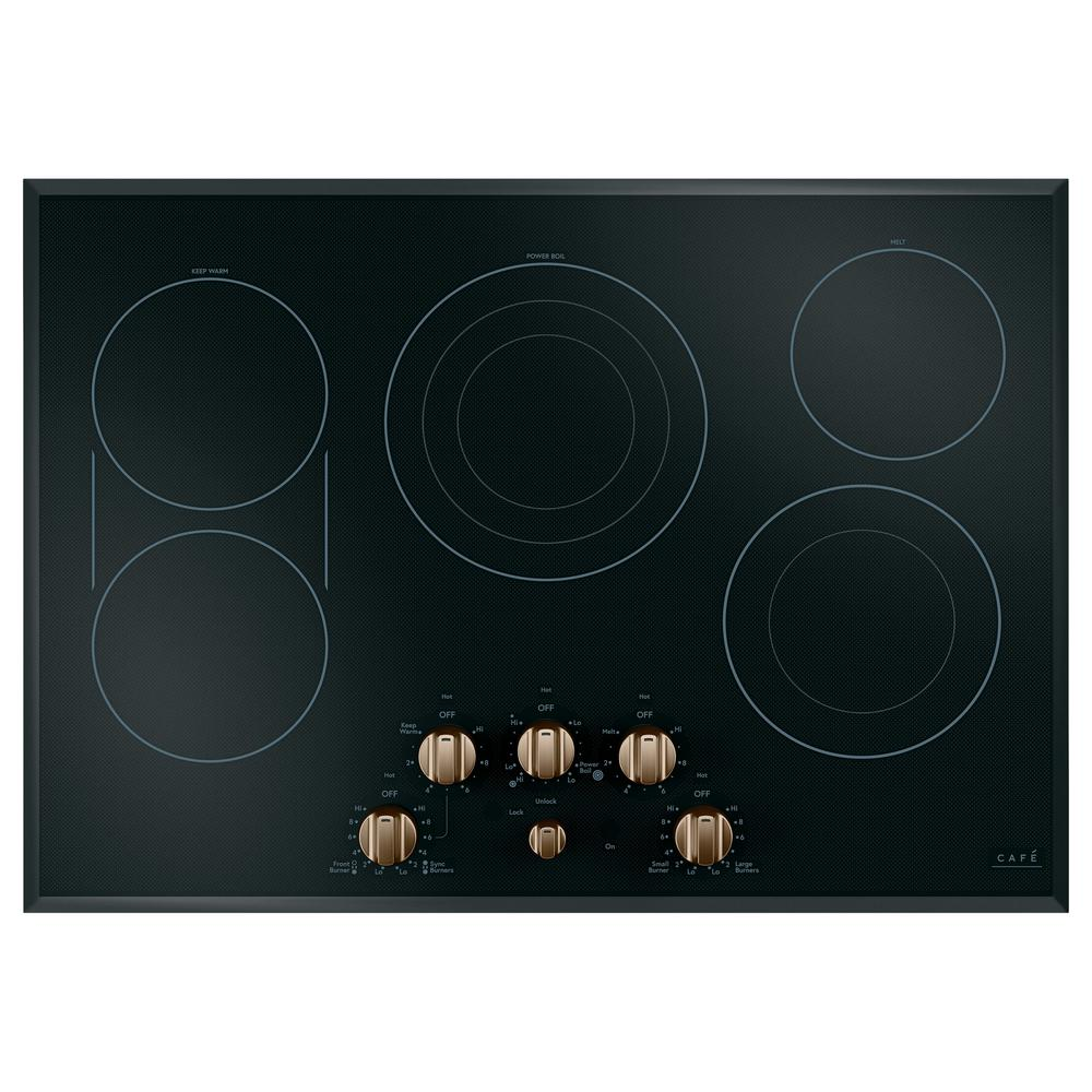 30 in. Radiant Electric Cooktop in Black and Brushed Bronze with