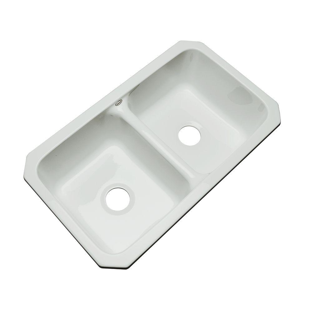 Thermocast Newport Undermount Acrylic 33 in. 0-Hole Double Bowl Kitchen Sink in Sterling Silver