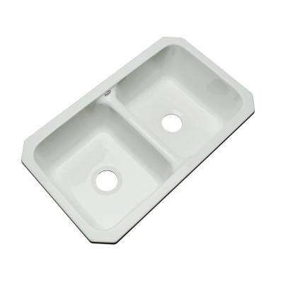 Newport Undermount Acrylic 33 in. 0-Hole Double Bowl Kitchen Sink in Sterling Silver