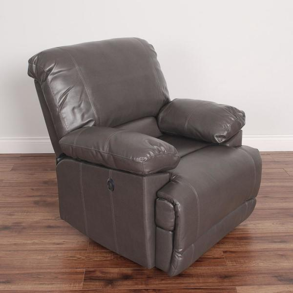 CorLiving Lea Brownish Grey Bonded Leather Power Recliner with USB Port