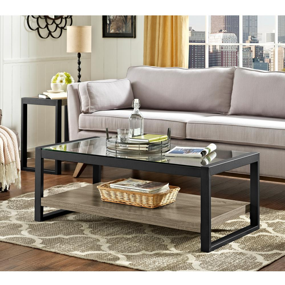 walker edison furniture company urban blend driftwood storage coffee table