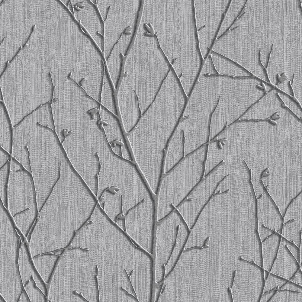 Evita Water Silk Sprig Charcoal Wallpaper