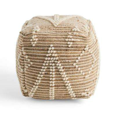 Delans Natural and Ivory Cube Ottoman Pouf