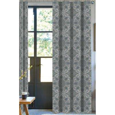 Nolan Paisley Light Filtering Drapery Panel in Green/White - 50 in. x 96 in.
