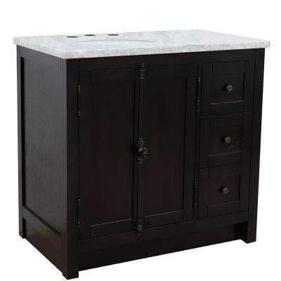 Plantation 37 in. W x 22 in. D x 36 in. H Bath Vanity in Brown Ash with White Marble Vanity Top and Left Side Oval Sink