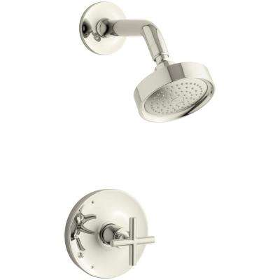 Purist 1-Spray 6.5 in. 2.5 GPM Fixed Shower Head with Cross Handle in Polished Nickel