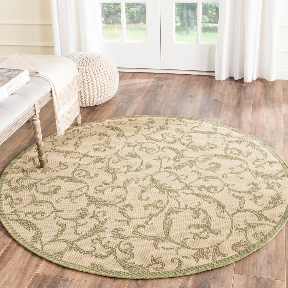Safavieh Courtyard Natural/Olive 6 ft. 7 in. x 6 ft. 7 in. Indoor/Outdoor Round Area Rug