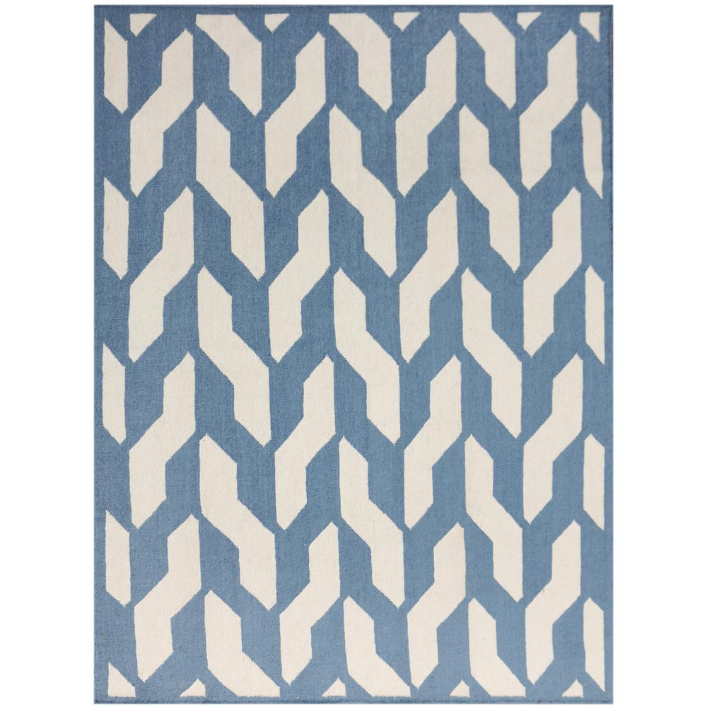 Amer Rugs Zahara Blue Geometric Flat Weave 5 Ft X 8 Area Rug