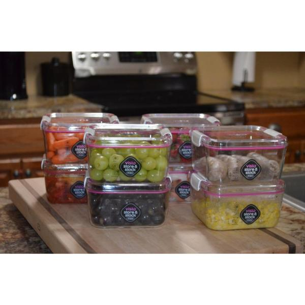 Visto 1.21 Qt. Cube Tritan Copolyester Food Storage Containers with Lids