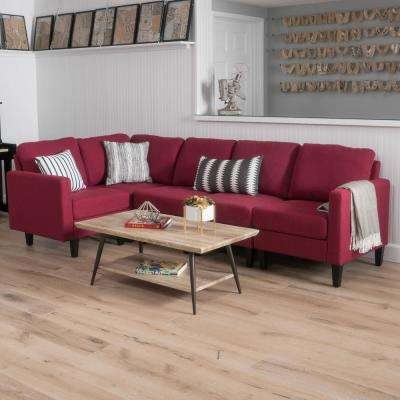 5-Piece Deep Red Tufted Seat Fabric Sectional