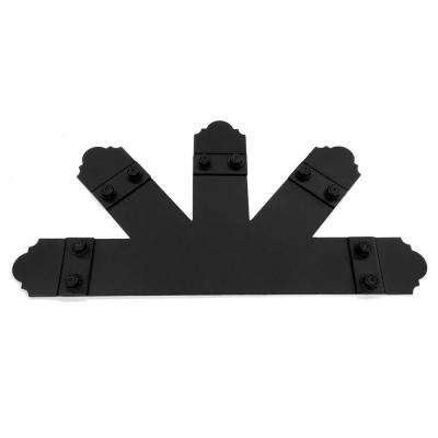 26 in. x 18 in. 10:12 Pitch Black Galv. Steel Truss Base Fan Connector with 5 Laredo Sunset Truss Accent Plates